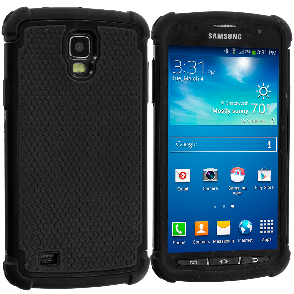 Samsung Galaxy S4 Active i537 Black / Black Hybrid Rugged Hard/Soft Case Cover