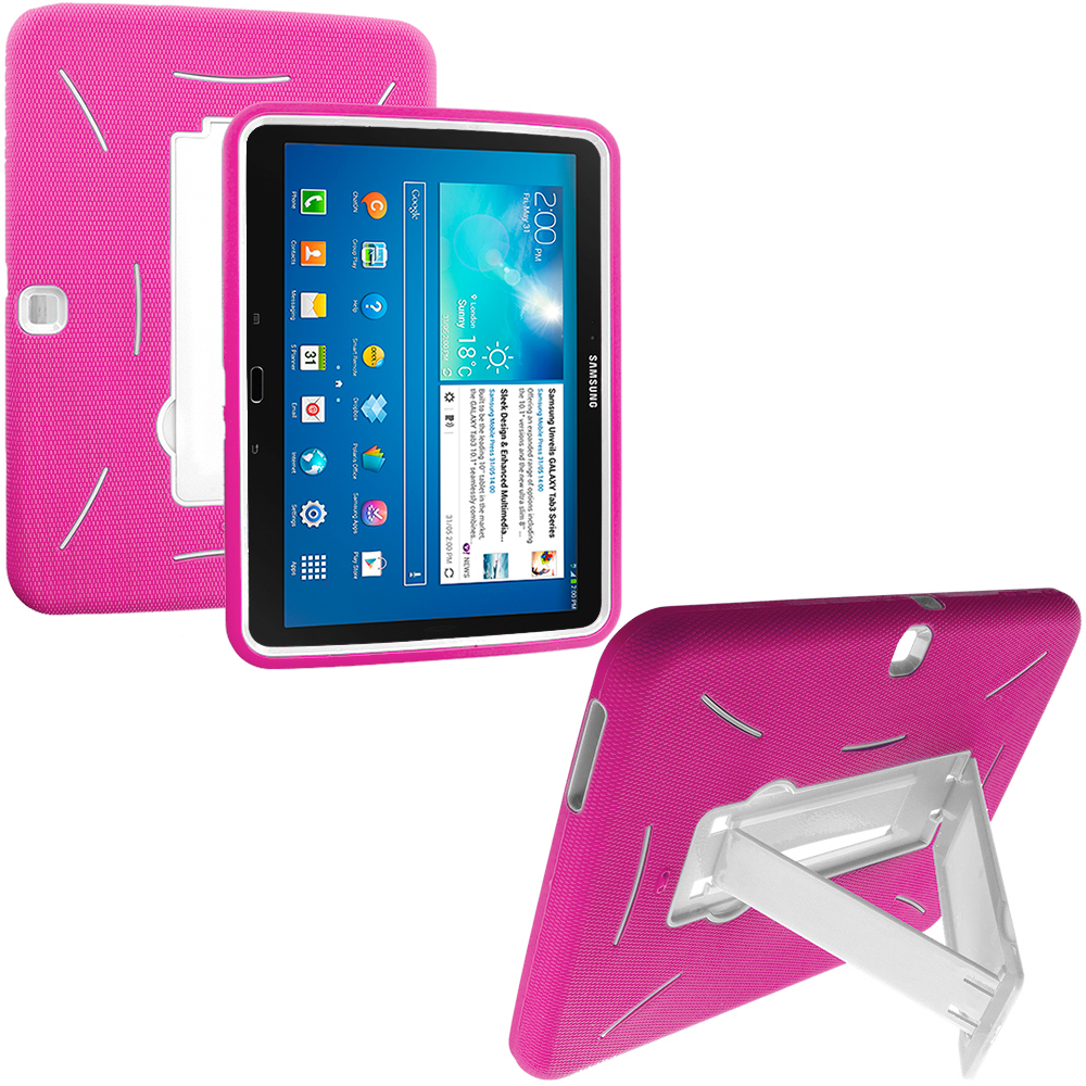 Samsung Galaxy Tab 3 10.1 Hot Pink / White Hybrid Heavy Duty Hard/Soft Case Cover with Stand