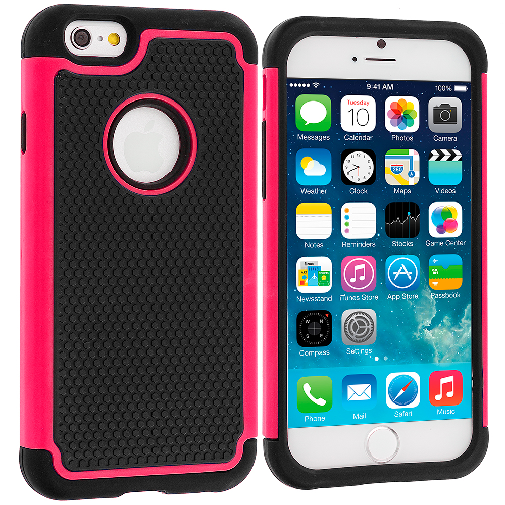 Apple iPhone 6 6S (4.7) Black / Hot Pink Hybrid Rugged Hard/Soft Case Cover