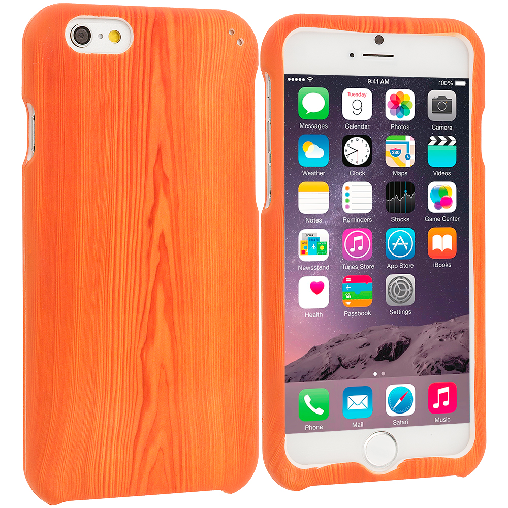 Apple iPhone 6 Plus 6S Plus (5.5) Wood Grain Hard Rubberized Design Case Cover