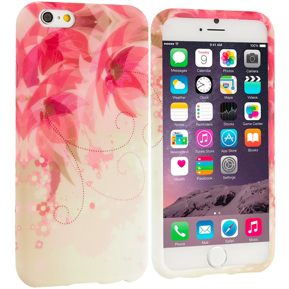 Apple iPhone 6 Plus 6S Plus (5.5) Flower with Red Leaf TPU Design Soft Rubber Case Cover
