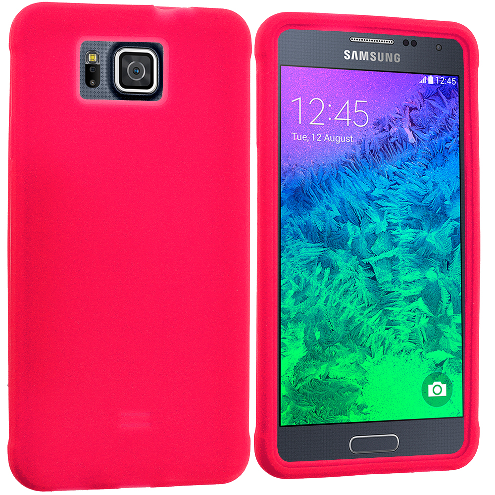 Samsung Galaxy Alpha G850 Red Silicone Soft Skin Rubber Case Cover