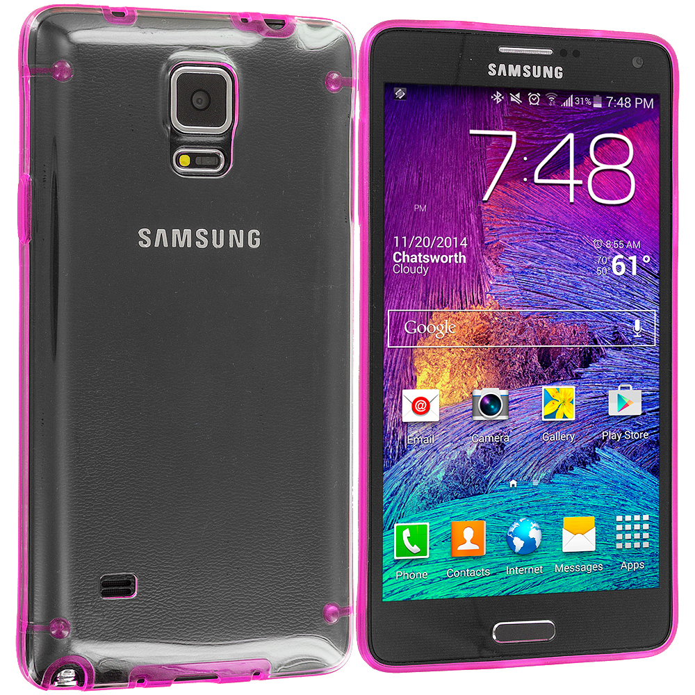 Samsung Galaxy Note 4 2 in 1 Combo Bundle Pack - Baby Blue Pink Crystal Robot Hard Case Cover : Color Hot Pink