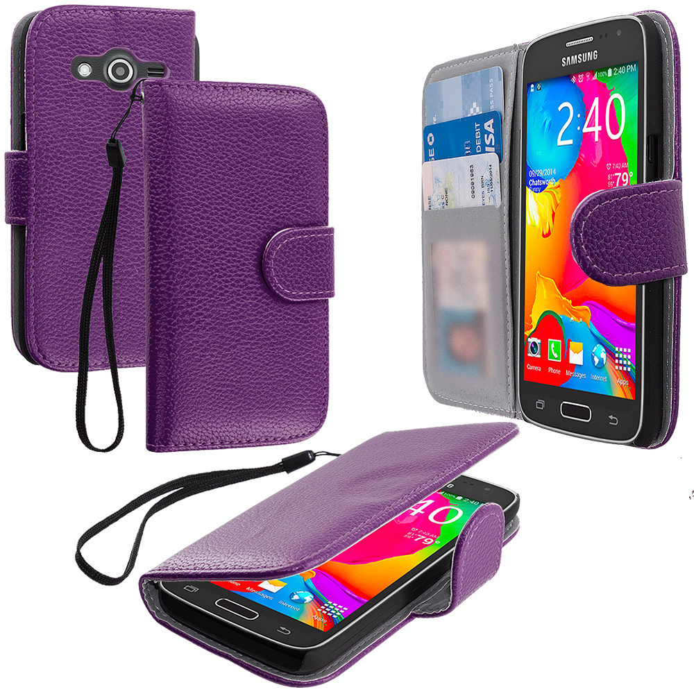 Samsung Galaxy Avant G386 Purple Leather Wallet Pouch Case Cover with Slots