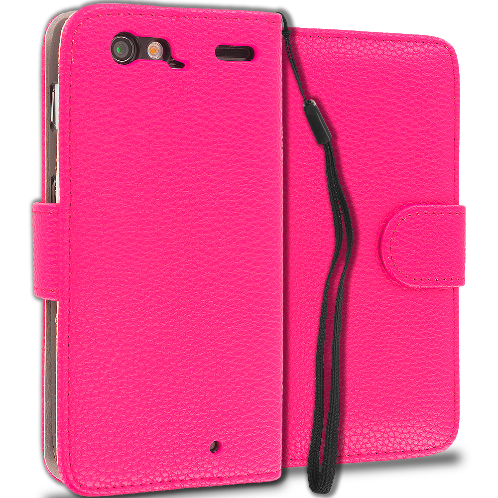 Motorola Droid Razr XT912 Hot Pink Leather Wallet Pouch Case Cover with Slots