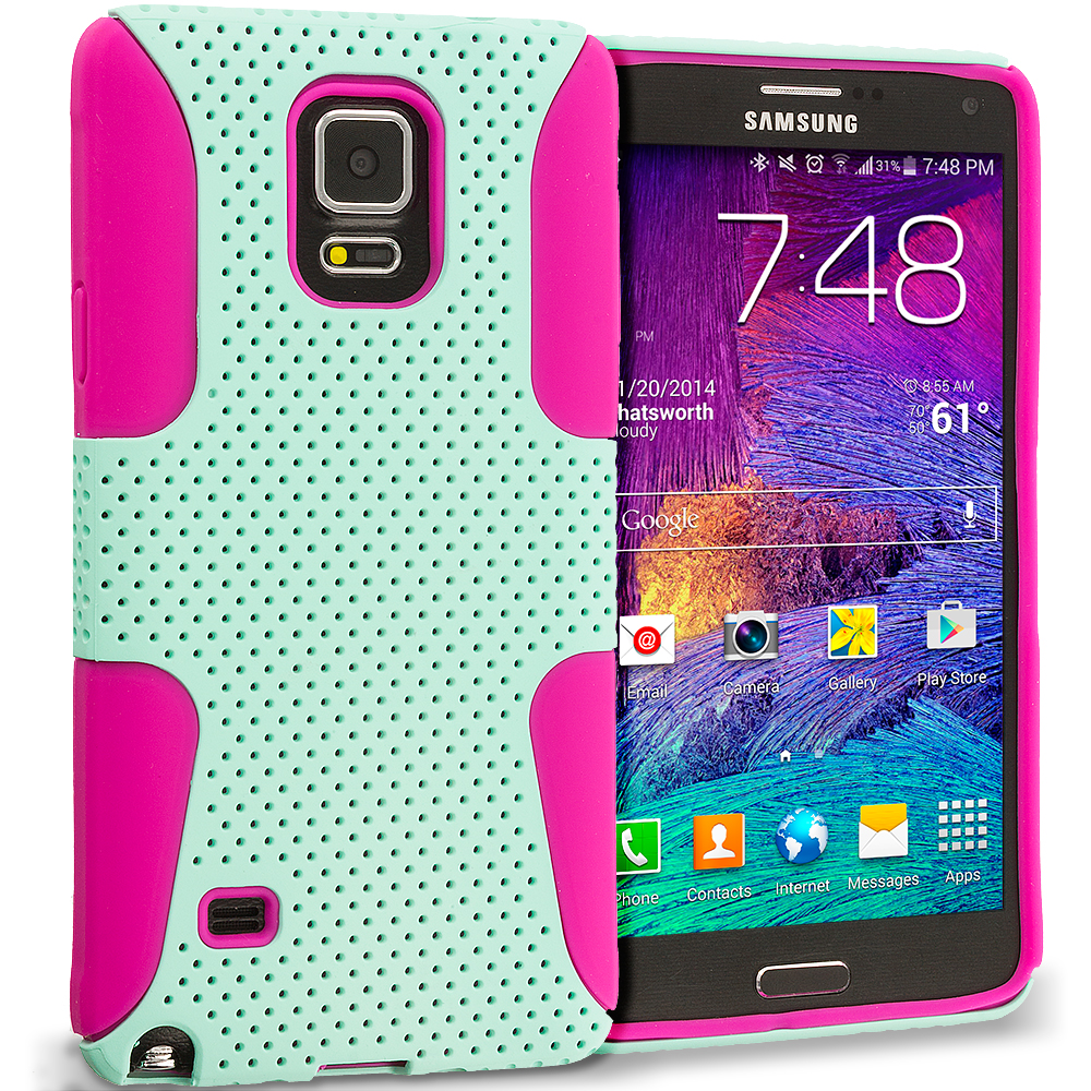 Samsung Galaxy Note 4 Hot Pink / Mint Green Hybrid Mesh Hard/Soft Case Cover