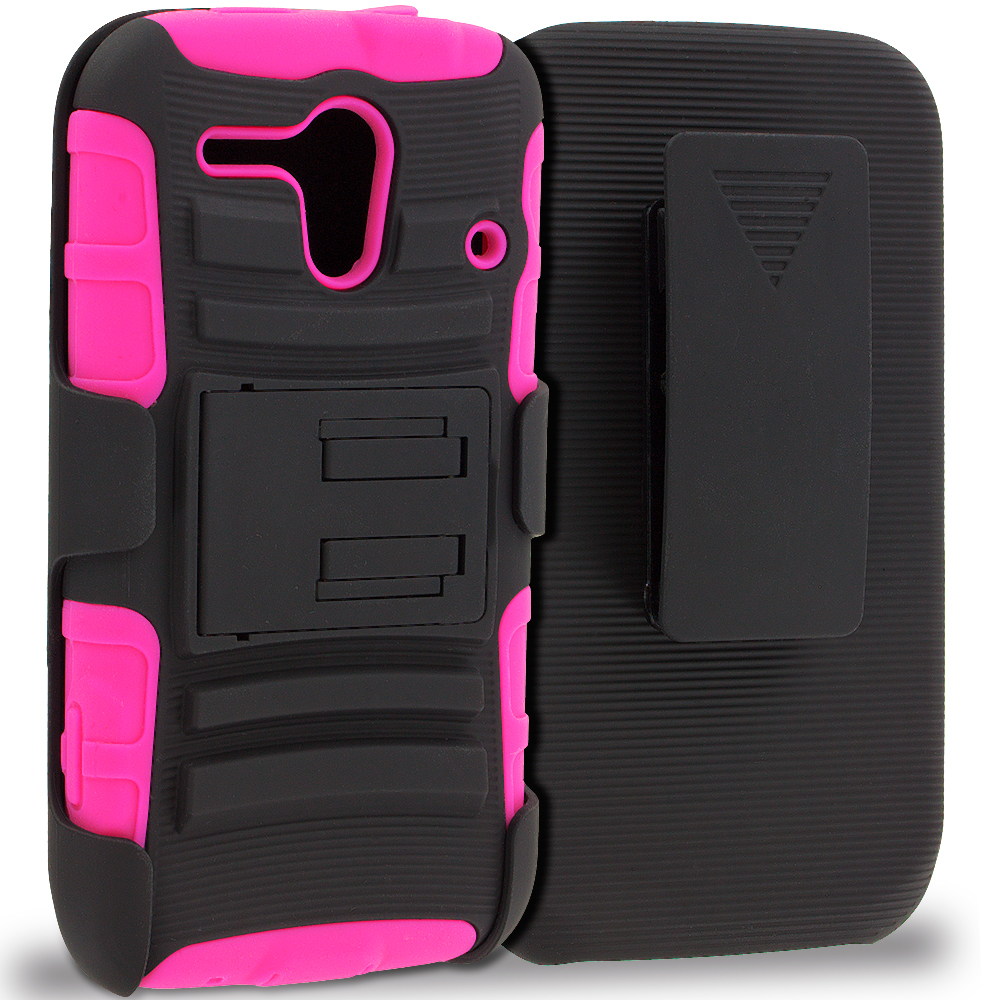 Motorola Moto G Hot Pink / Black Hybrid Heavy Duty Rugged Case Cover with Belt Clip Holster