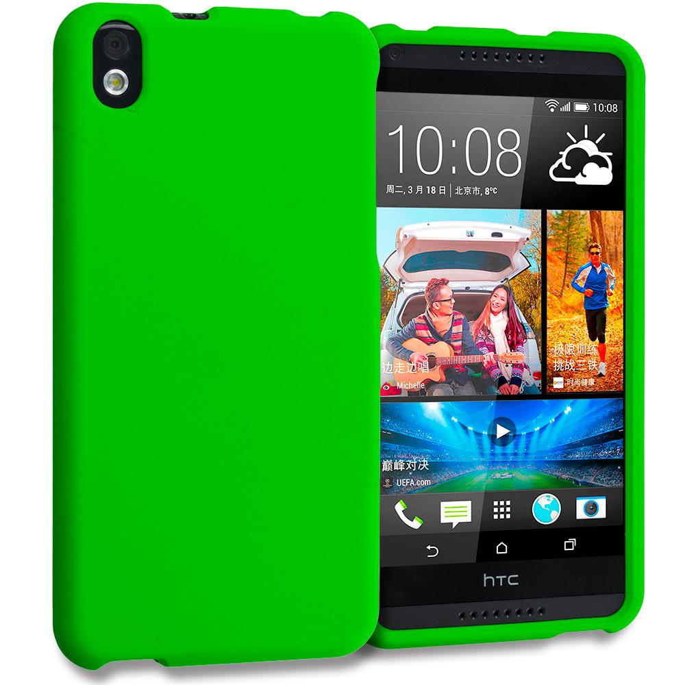 HTC Desire 816 Neon Green Hard Rubberized Case Cover