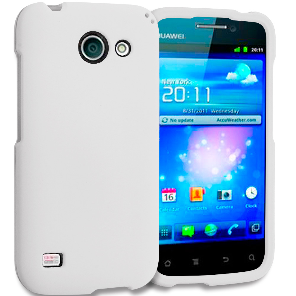 Huawei Tribute Fusion 3 Y536A1 White Hard Rubberized Case Cover