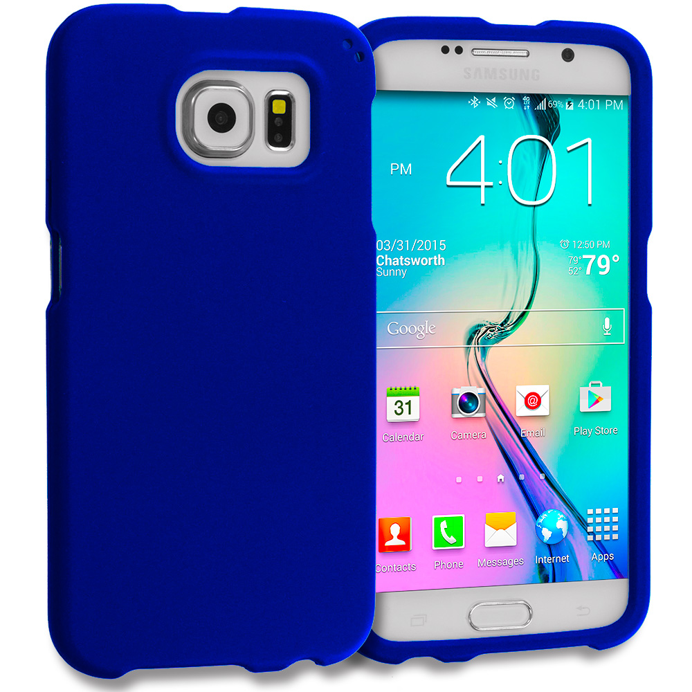 Samsung Galaxy S6 Combo Pack : Black Hard Rubberized Case Cover : Color Blue