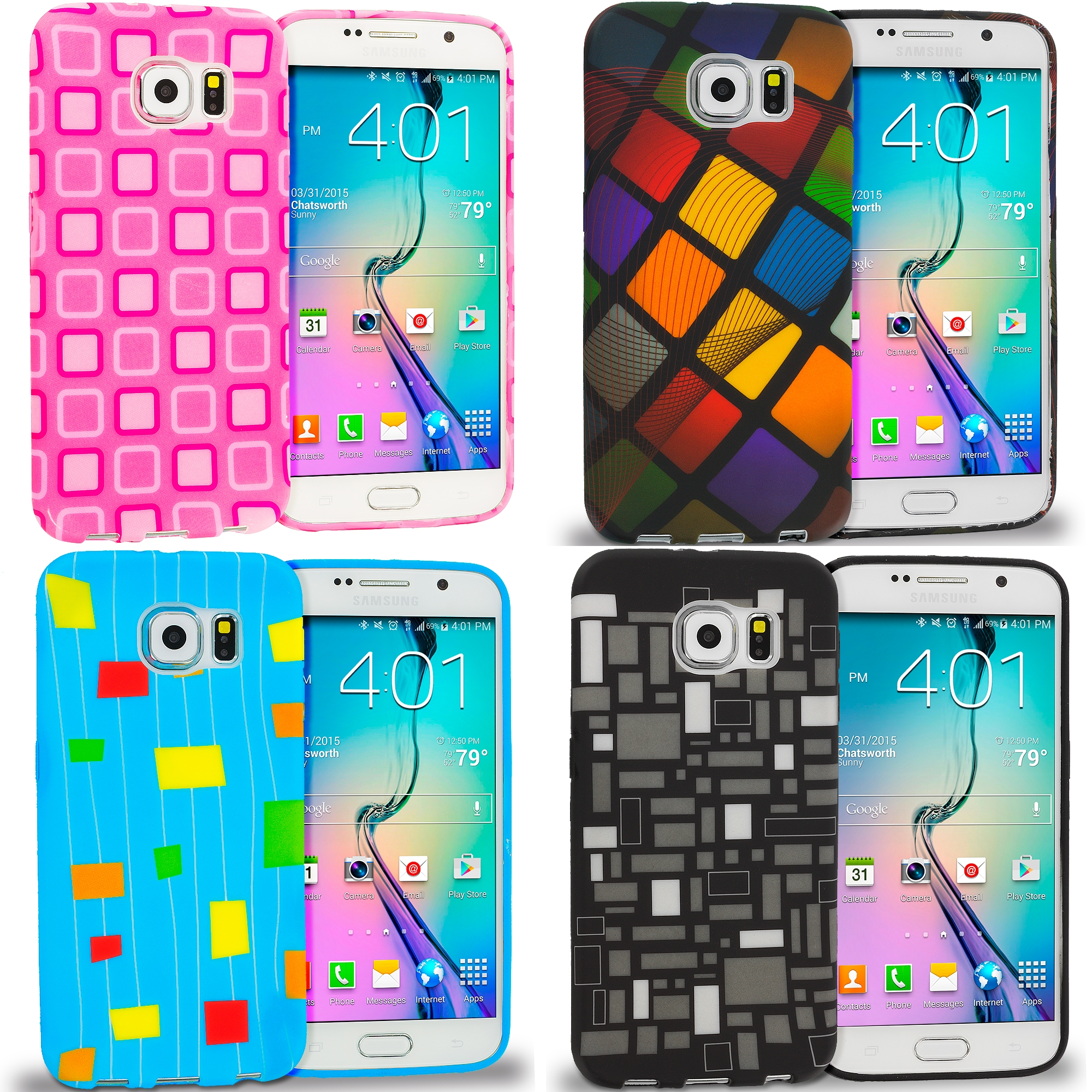 Samsung Galaxy S6 Combo Pack : Black White Squares TPU Design Soft Rubber Case Cover