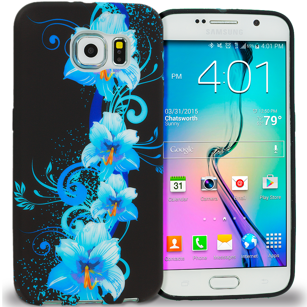 Samsung Galaxy S6 Blue Flowers TPU Design Soft Rubber Case Cover