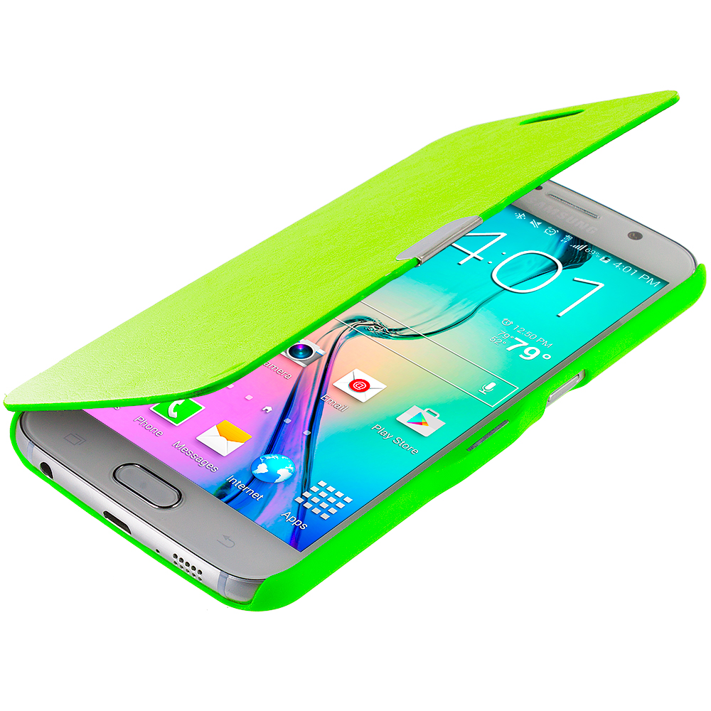 Samsung Galaxy S6 Combo Pack : Red Magnetic Flip Wallet Case Cover Pouch : Color Neon Green