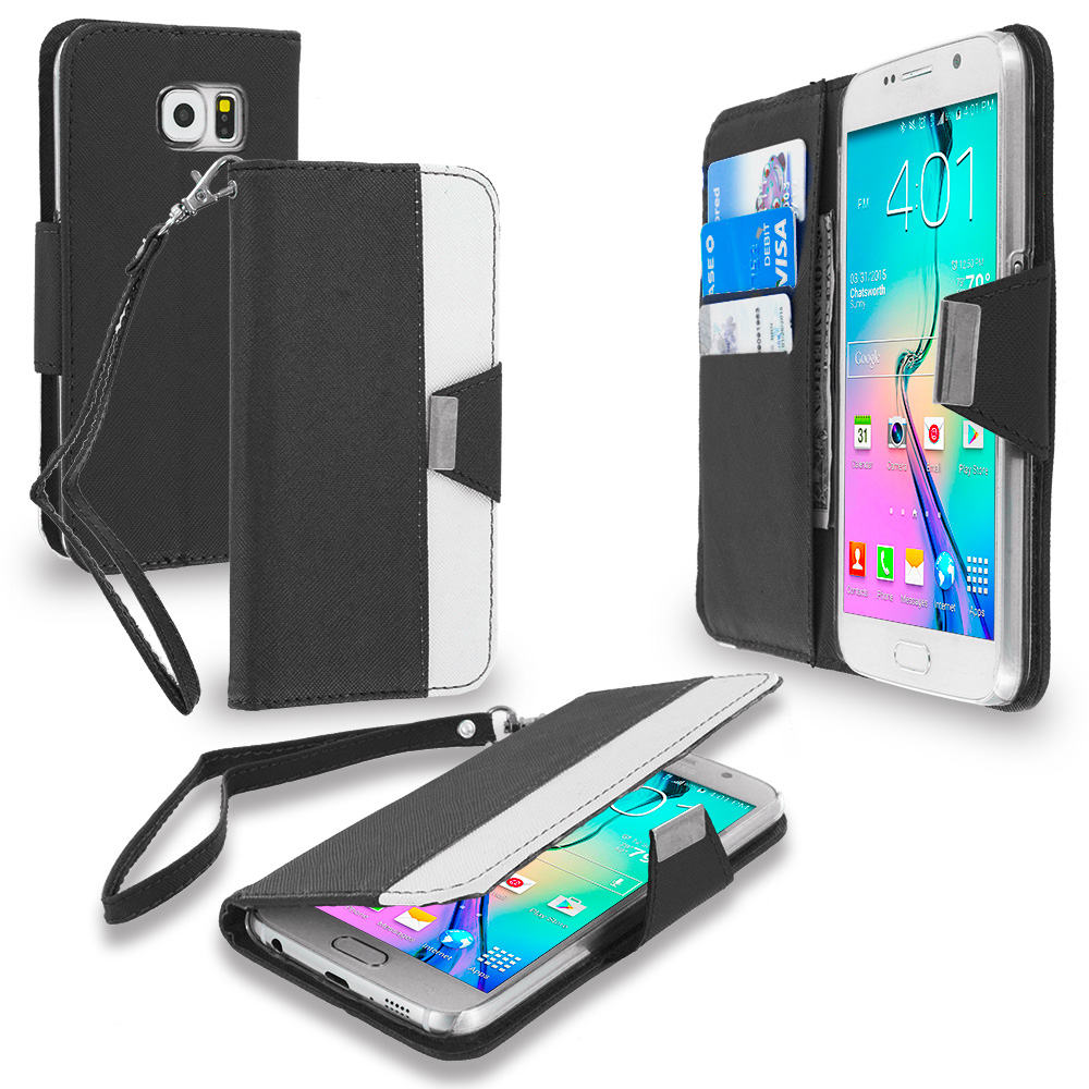 Samsung Galaxy S6 Black Wallet Magnetic Metal Flap Case Cover With Card Slots
