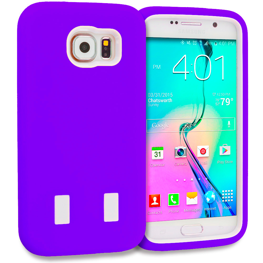 Samsung Galaxy S6 Combo Pack : Blue / White Hybrid Deluxe Hard/Soft Case Cover : Color Purple / White