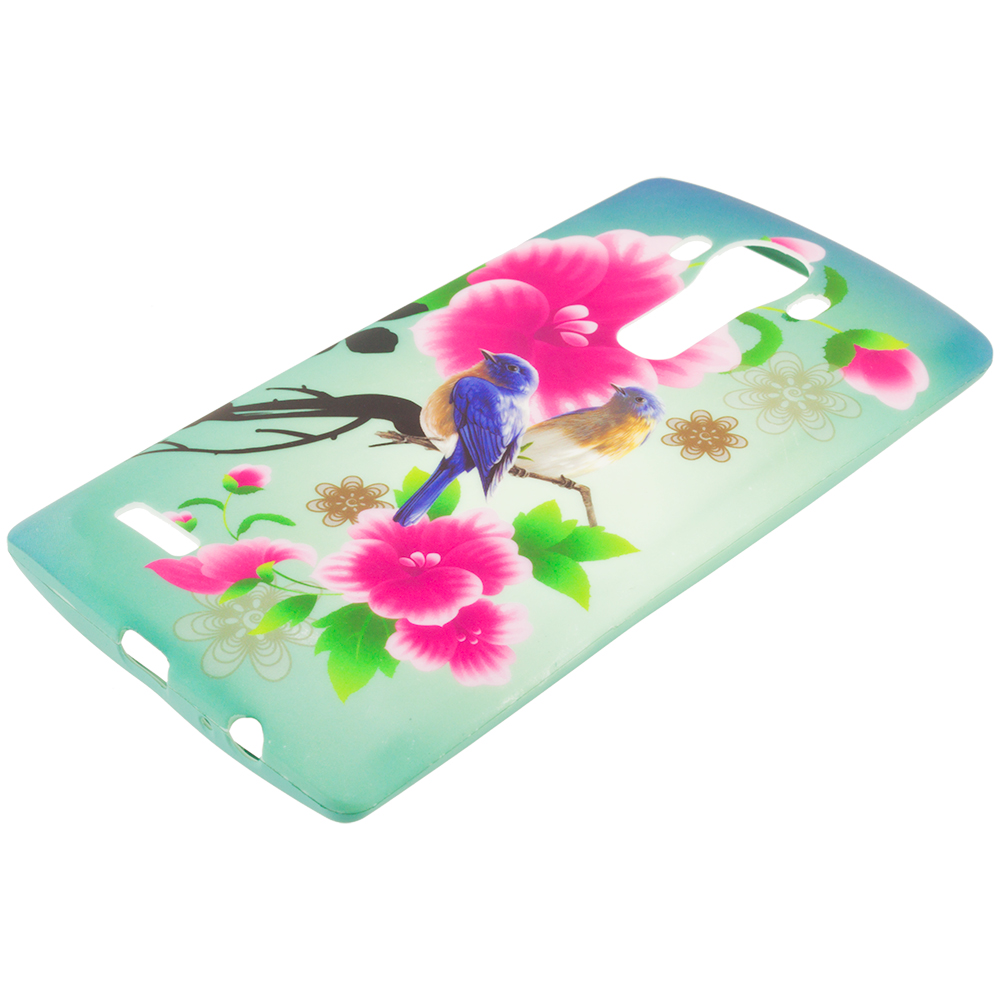LG G4 Blue Bird Pink Flower TPU Design Soft Rubber Case Cover
