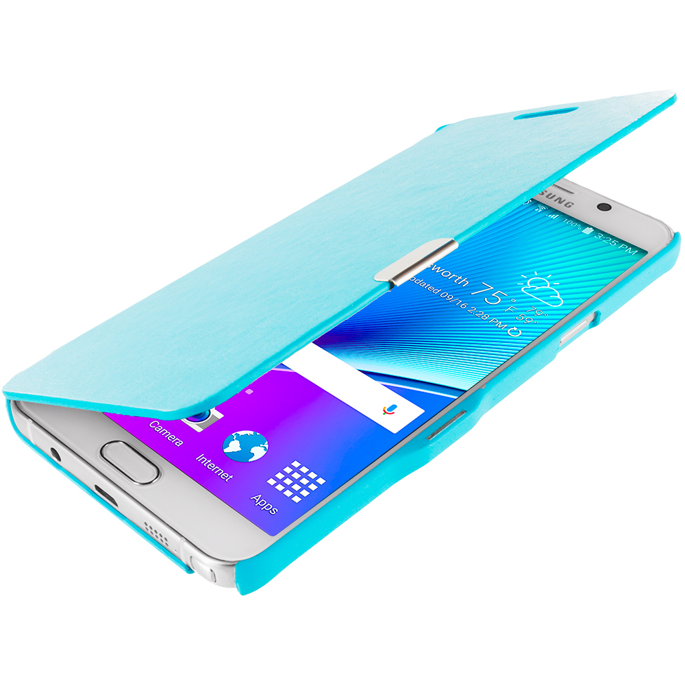 Samsung Galaxy Note 5 Baby Blue Magnetic Flip Wallet Case Cover Pouch
