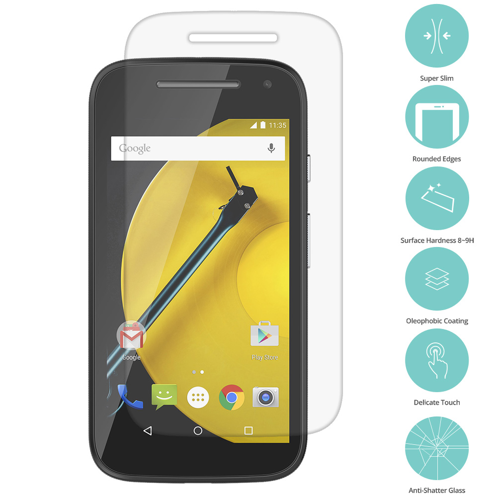 Motorola Moto E LTE 2nd Generation Clear Tempered Glass Film Screen Protector Clear