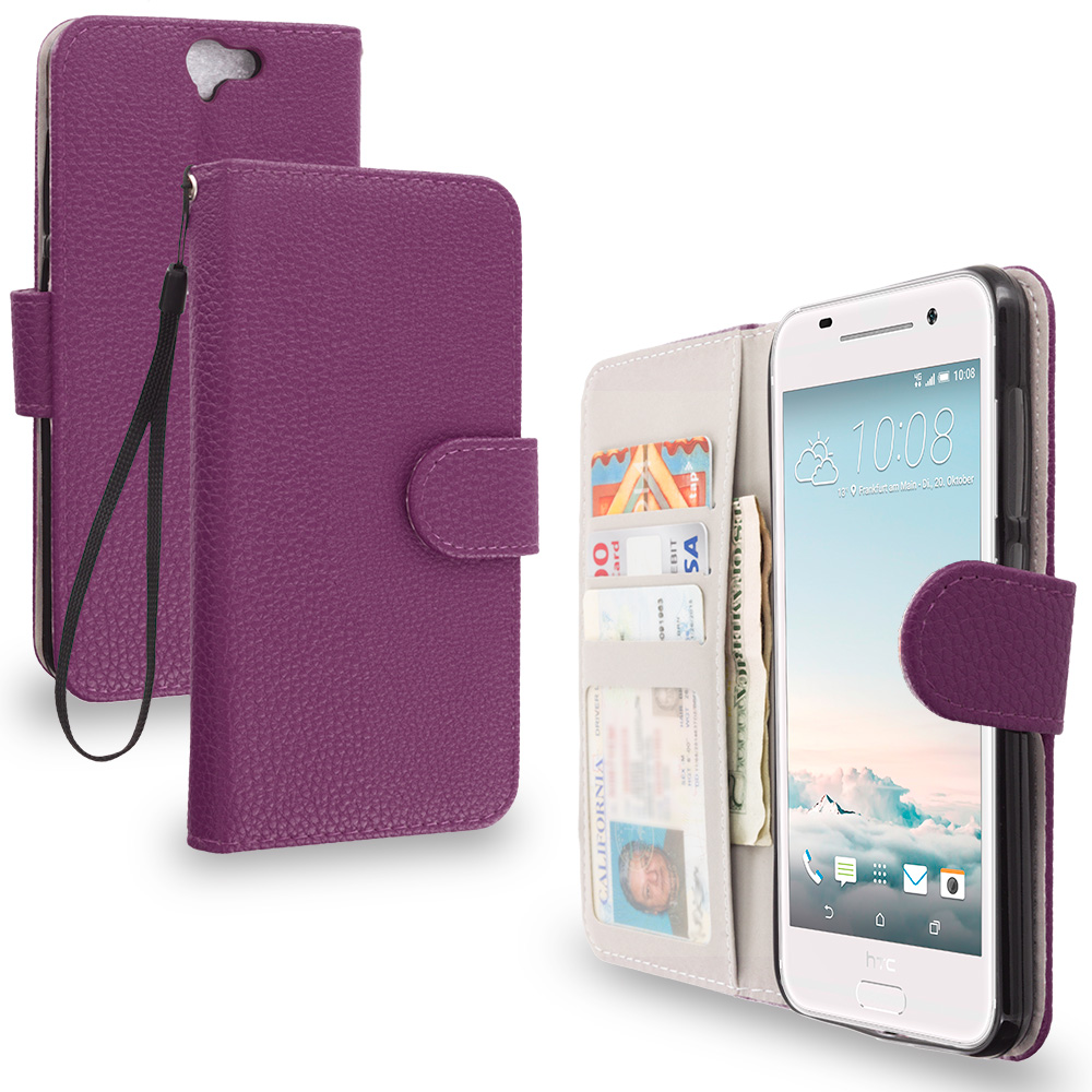 HTC Aero One A9 Purple Leather Wallet Pouch Case Cover with Slots