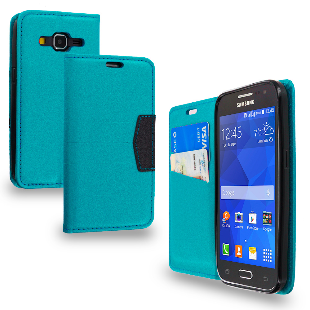 Samsung Galaxy Prevail LTE Core Prime G360P Baby Blue Wallet Flip Leather Pouch Case Cover with ID Card Slots