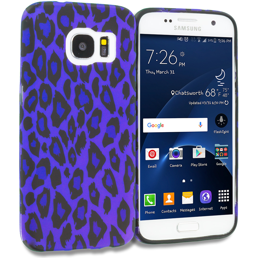 Samsung Galaxy S7 Combo Pack : Purple Black Leopard TPU Design Soft Rubber Case Cover : Color Purple Black Leopard