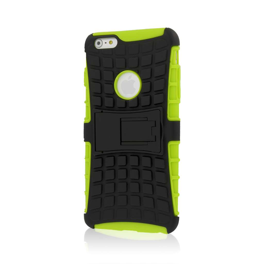 Apple iPhone 6 6S Plus - Red Combo Pack : MPERO IMPACT SR - Kickstand Case Cover : Color Neon Green