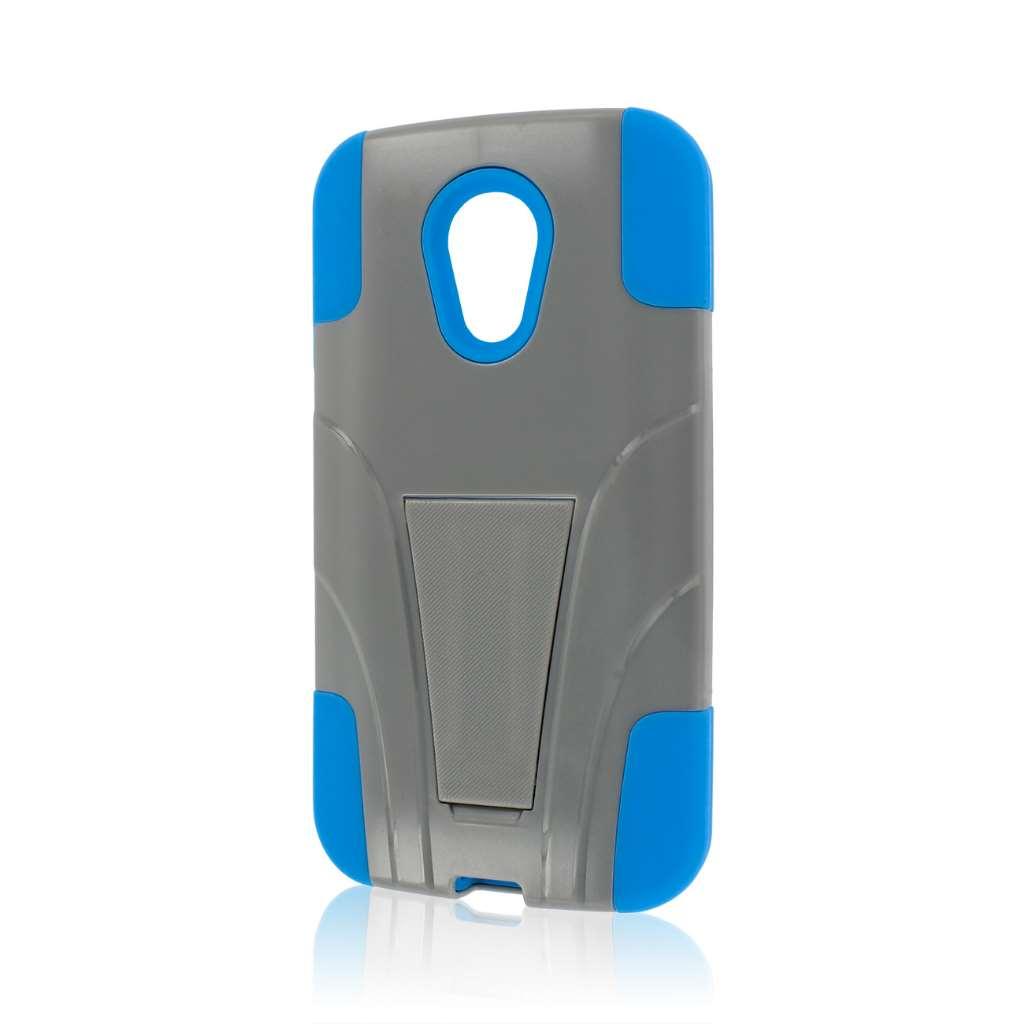 Motorola Moto G 2nd Gen 2014 - Blue / Gray MPERO IMPACT X - Kickstand Case