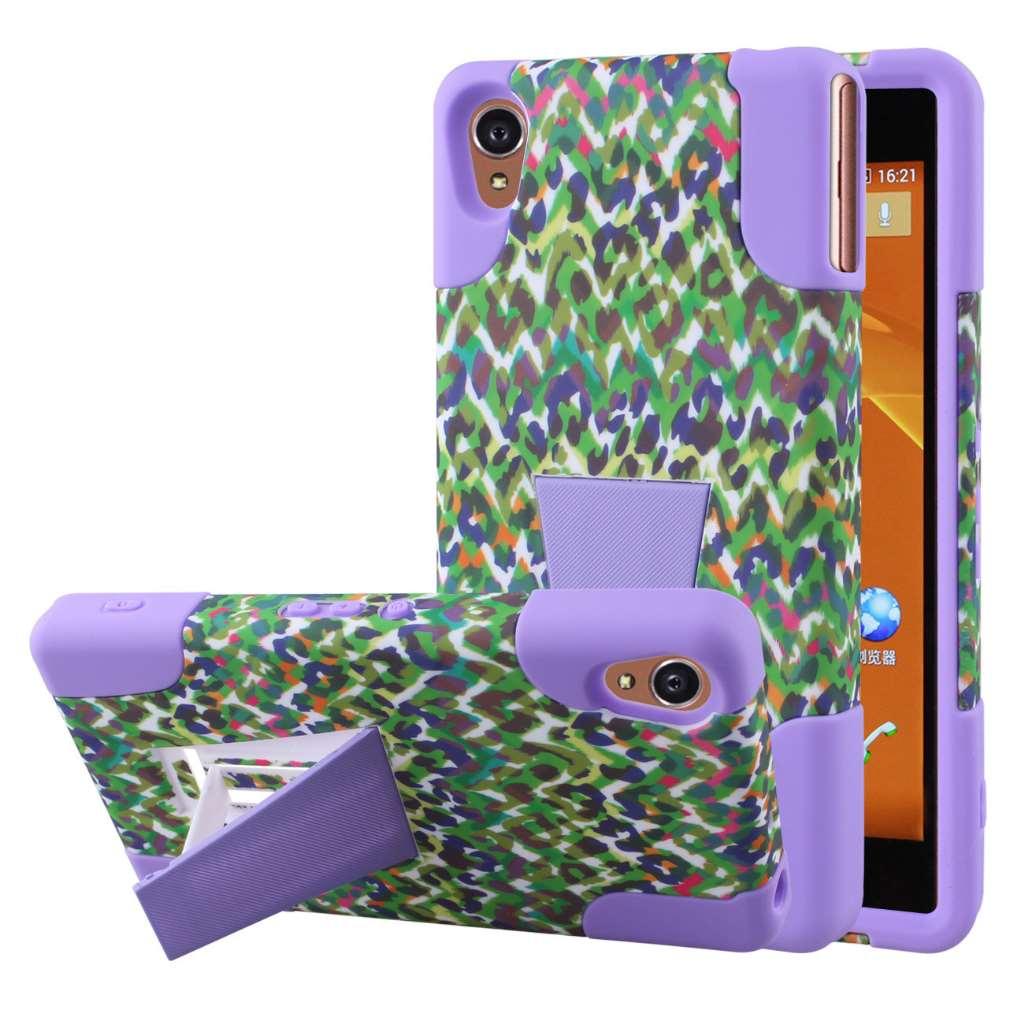 Sony Xperia Z3v - Purple Rainbow Leopard MPERO IMPACT X - Kickstand Case