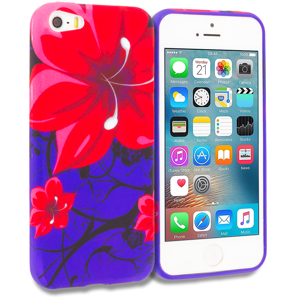 Apple iPhone 5/5S/SE Red Rose Purple TPU Design Soft Rubber Case Cover
