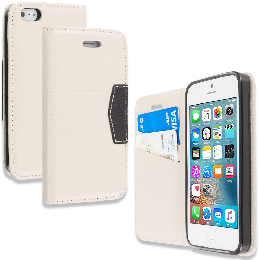 Apple iPhone 5/5S/SE White Wallet Flip Leather Pouch Case Cover with ID Card Slots