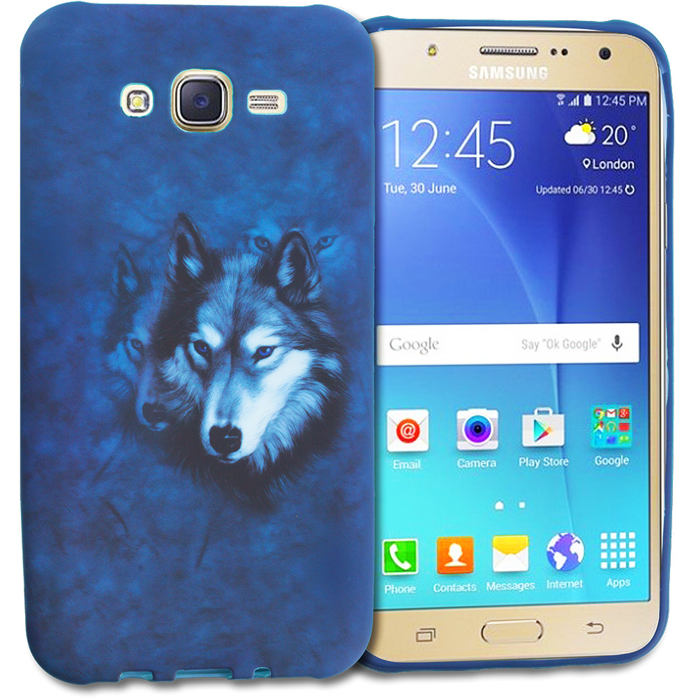Samsung Galaxy J7 Wolf TPU Design Soft Rubber Case Cover