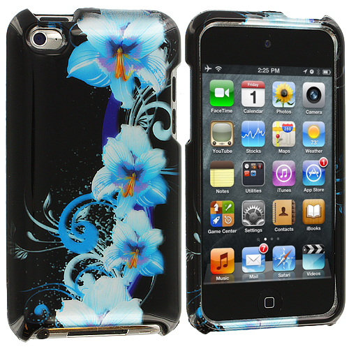 Apple iPod Touch 4th Generation Blue Flower Design Crystal Hard Case Cover