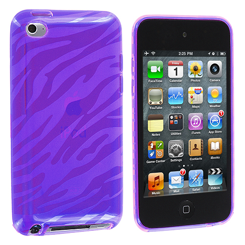 Apple iPod Touch 4th Generation Purple Zebra TPU Rubber Skin Case Cover