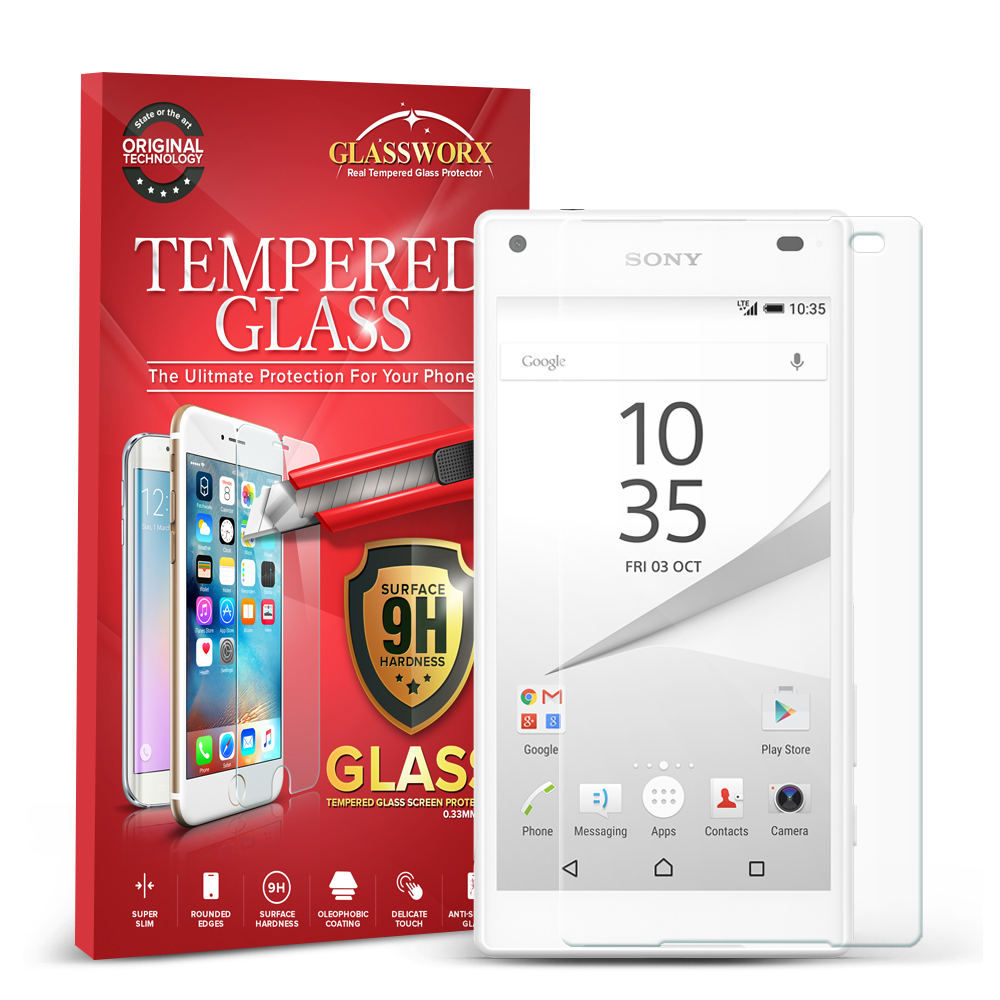 Sony Xperia Z5 Compact Clear GlassWorX HD Tempered Glass Screen Protector