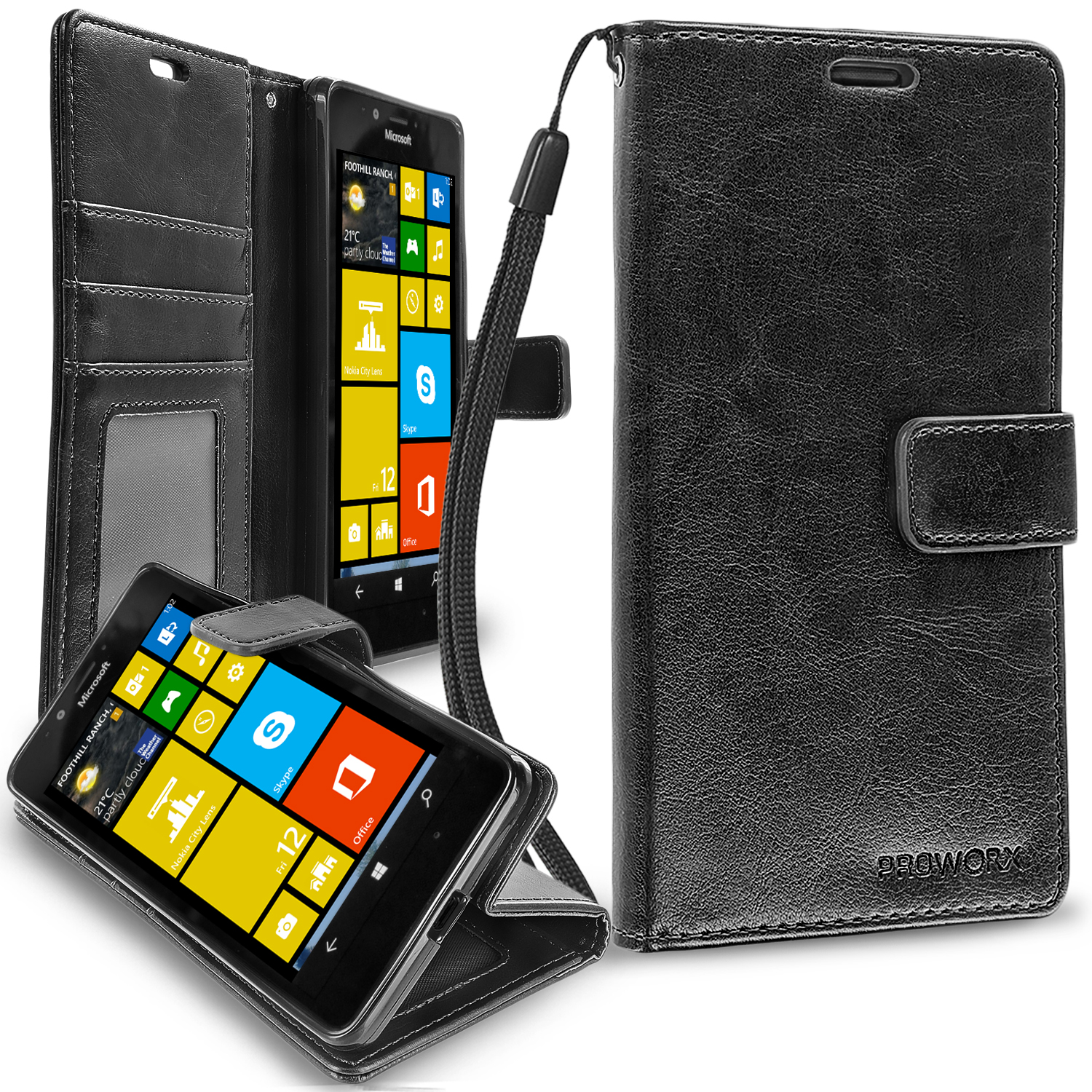 Microsoft Lumia 950 Black ProWorx Wallet Case Luxury PU Leather Case Cover With Card Slots & Stand