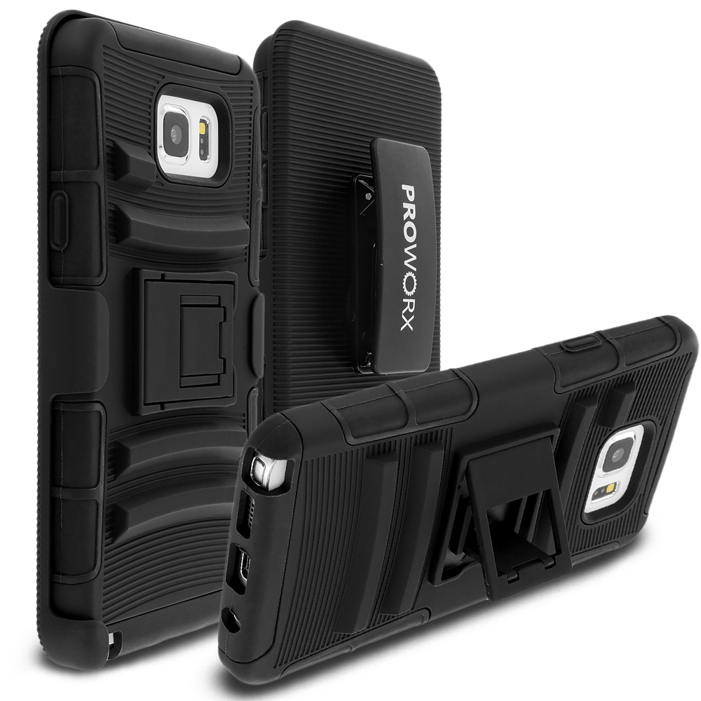 Samsung Galaxy Note 5 Black ProWorx Heavy Duty Shock Absorption Armor Defender Case Cover With Belt Clip Holster