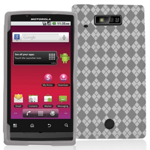Motorola Triumph 4G Clear Checkered TPU Rubber Skin Case Cover