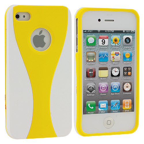 Apple iPhone 4 / 4S White / Yellow Hard Rubberized 3-Piece Case Cover