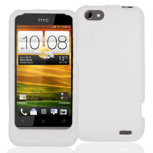 HTC One V White Hard Rubberized Case Cover