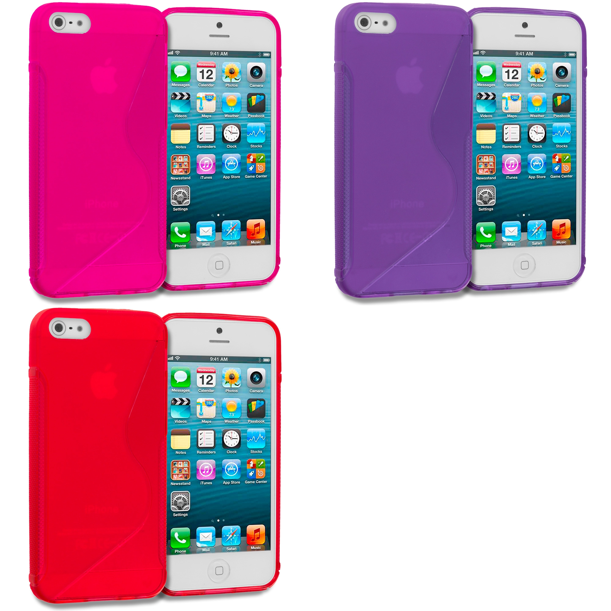 Apple iPhone 5/5S/SE Combo Pack : Hot Pink S-Line TPU Rubber Skin Case Cover