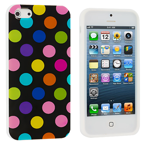 Apple iPhone 5/5S/SE 2 in 1 Combo Bundle Pack - Black White Colorful TPU Polka Dot Skin Case Cover : Color Black / Colorful