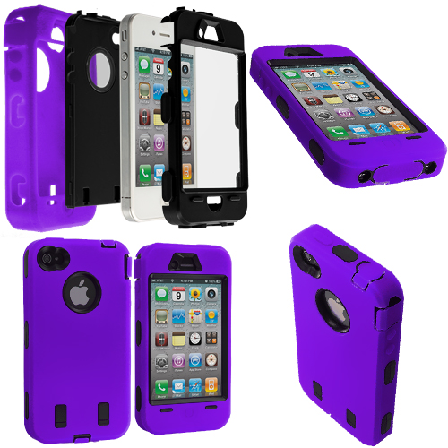 Apple iPhone 4 / 4S Purple / Black + Protector Hybrid Deluxe Hard/Soft Case Cover