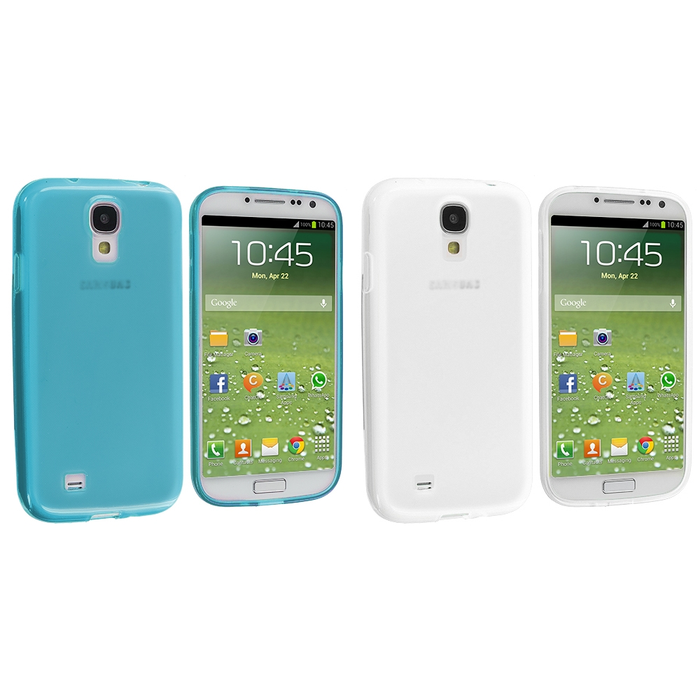 Samsung Galaxy S4 2 in 1 Combo Bundle Pack - Clear Plain TPU Rubber Skin Case Cover
