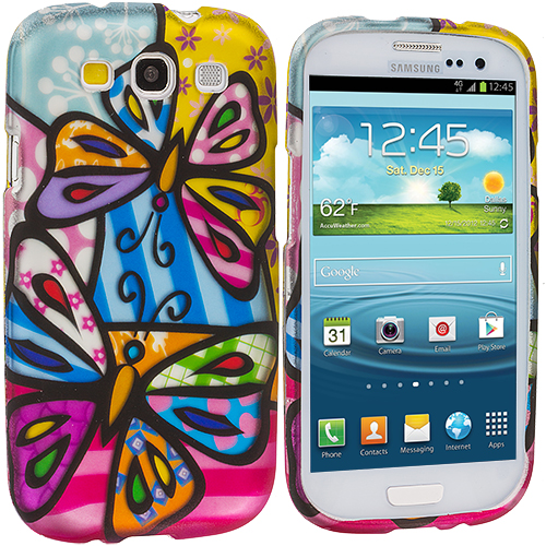 Samsung Galaxy S3 Colorful Butterfly Hard Rubberized Design Case Cover
