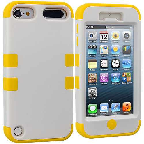 Apple iPod Touch 5th 6th Generation 2 in 1 Combo Bundle Pack - Orange / Yellow Hybrid Tuff Hard/Soft 3-Piece Case Cover : Color Yellow / White