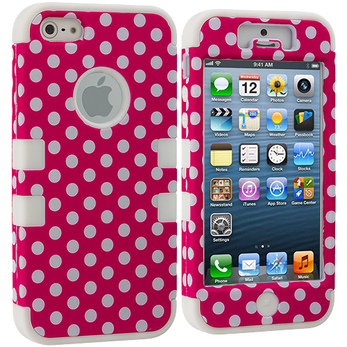 Apple iPhone 5/5S/SE Hot Pink Polka Dot / White Hybrid Tuff Hard/Soft 3-Piece Case Cover