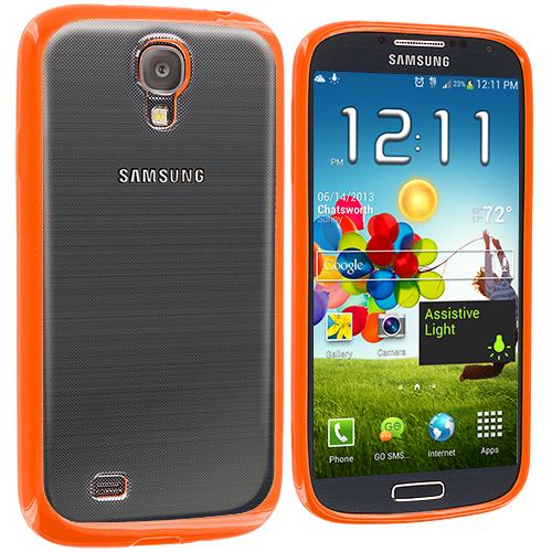 Samsung Galaxy S4 Orange TPU Plastic Hybrid Case Cover