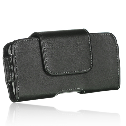 Apple iPhone 5/5S/SE/5C Black Flip Leather Holster Pouch