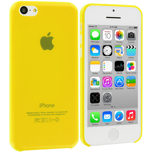Apple iPhone 5C 3 in 1 Combo Bundle Pack - Hot Pink Yellow 0.3mm Crystal Hard Back Cover Case : Color Yellow 0.3mm