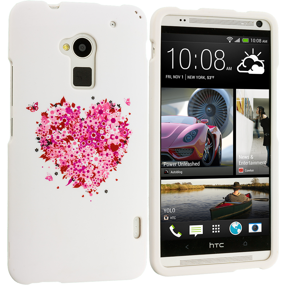 HTC One Max Hearts Full of Flowers White Hard Rubberized Design Case Cover